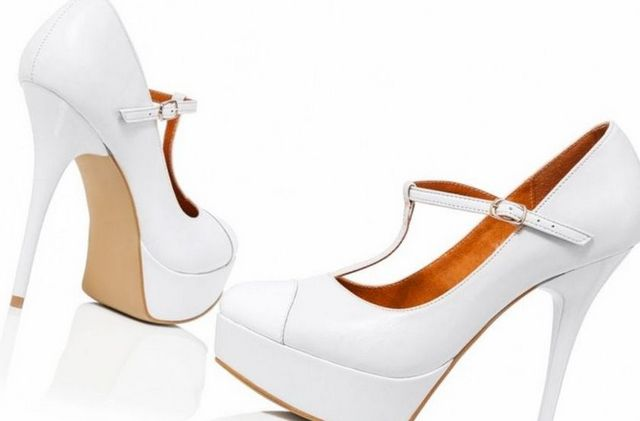platform wedding shoes chunky heel photo