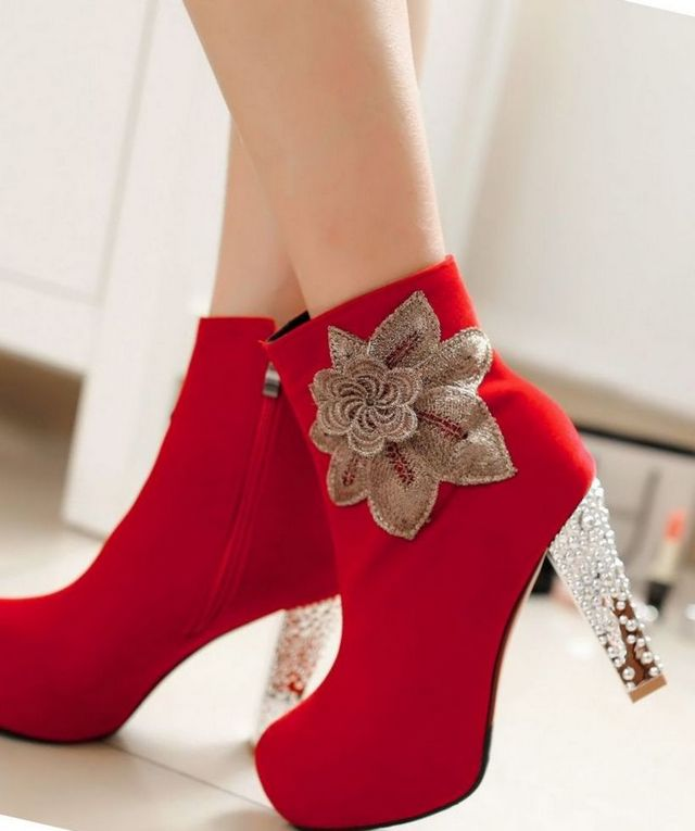 platform wedding shoes red