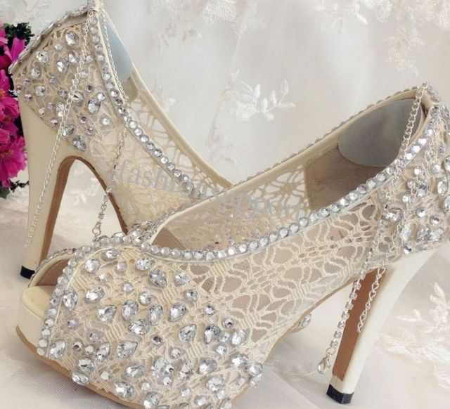 rhinestone platform wedge shoes for wedding