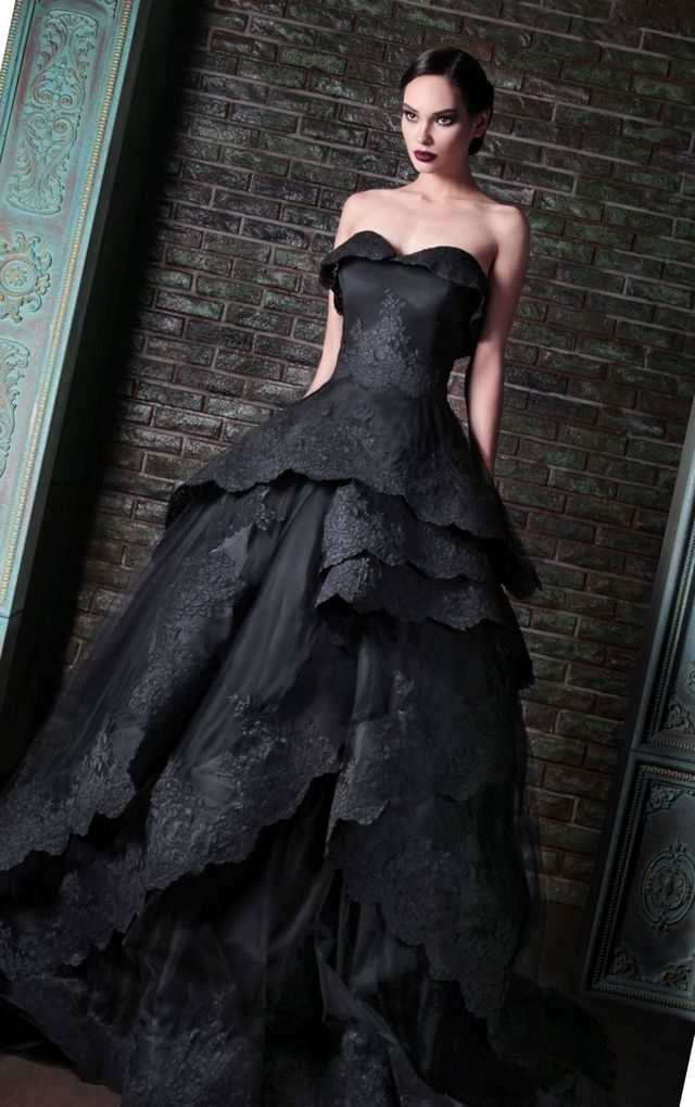 puffy black bridal dress
