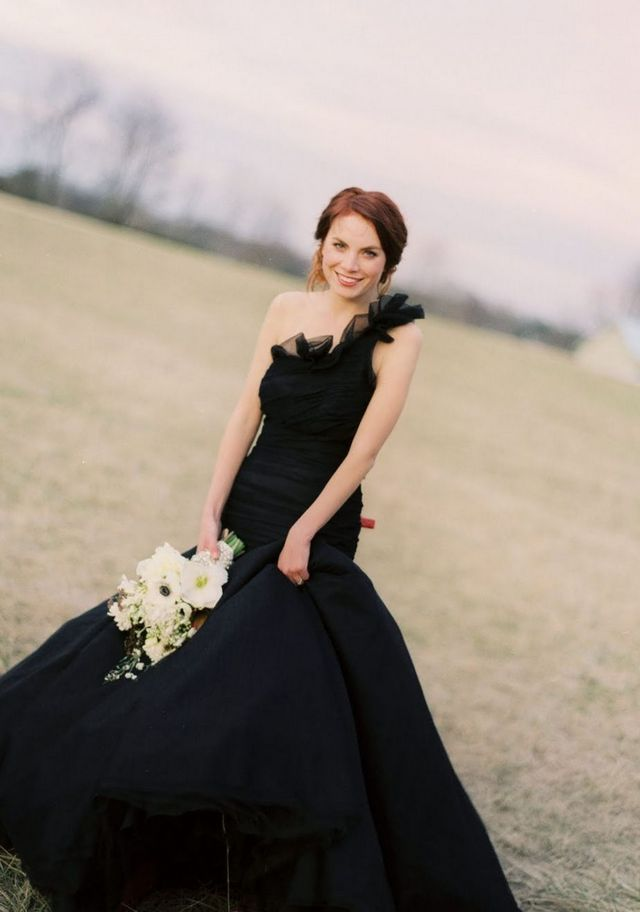 puffy black wedding dress