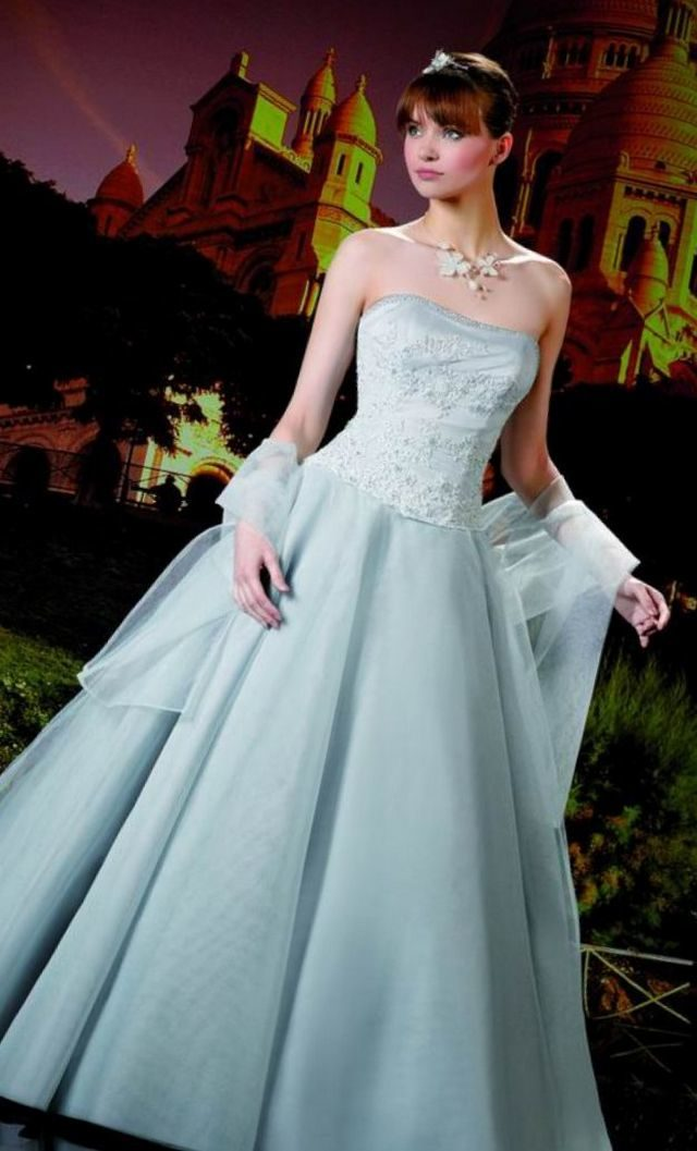 puffy blue bridal dress