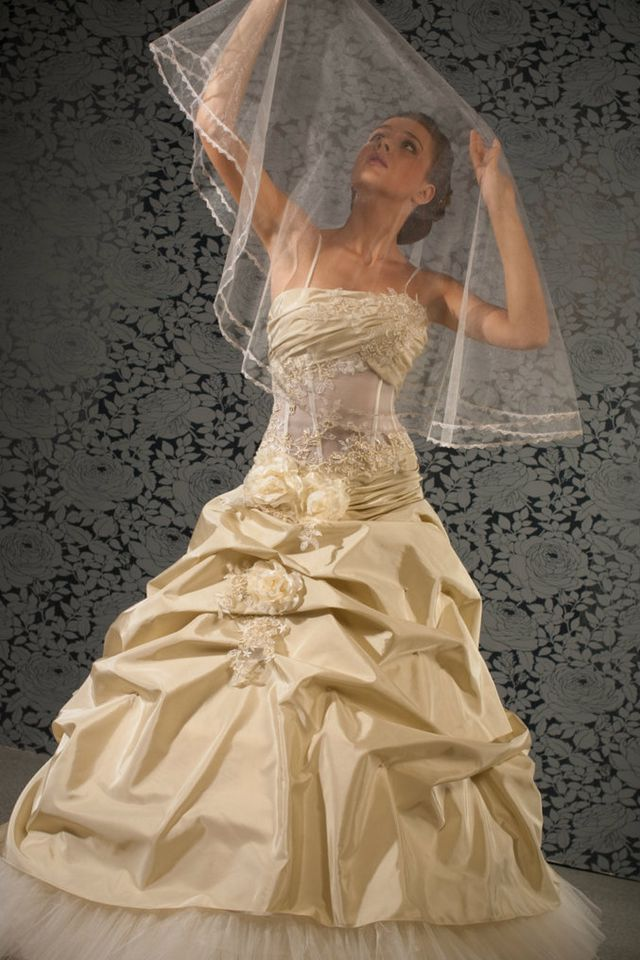 puffy gold wedding dress