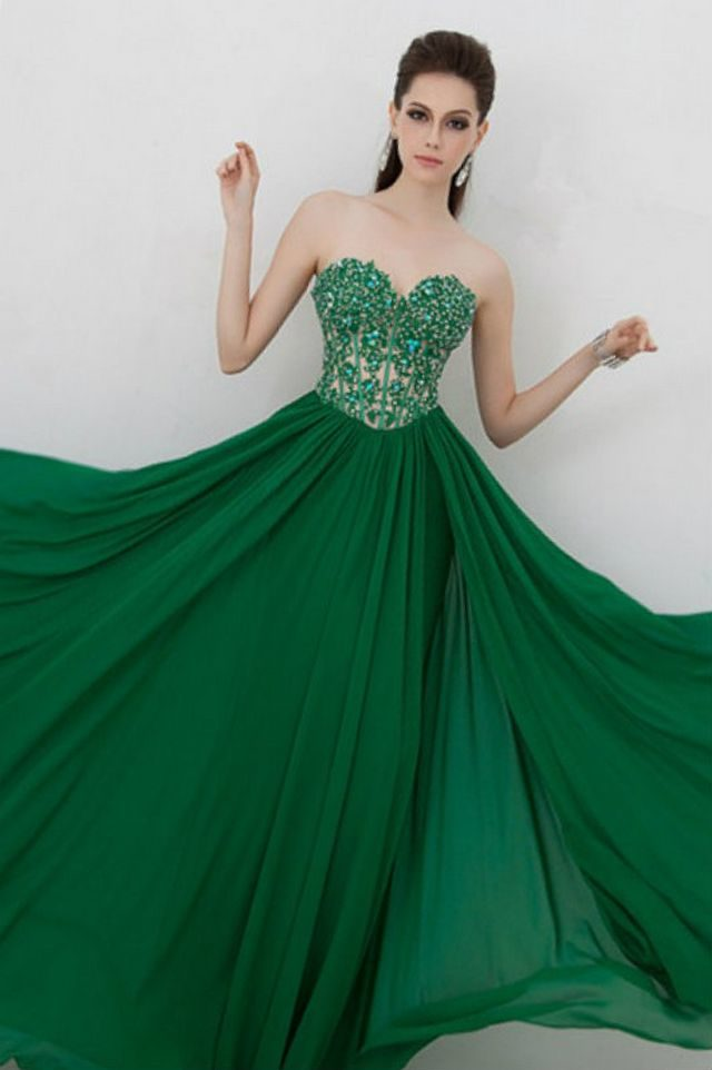 puffy green bridal dresses