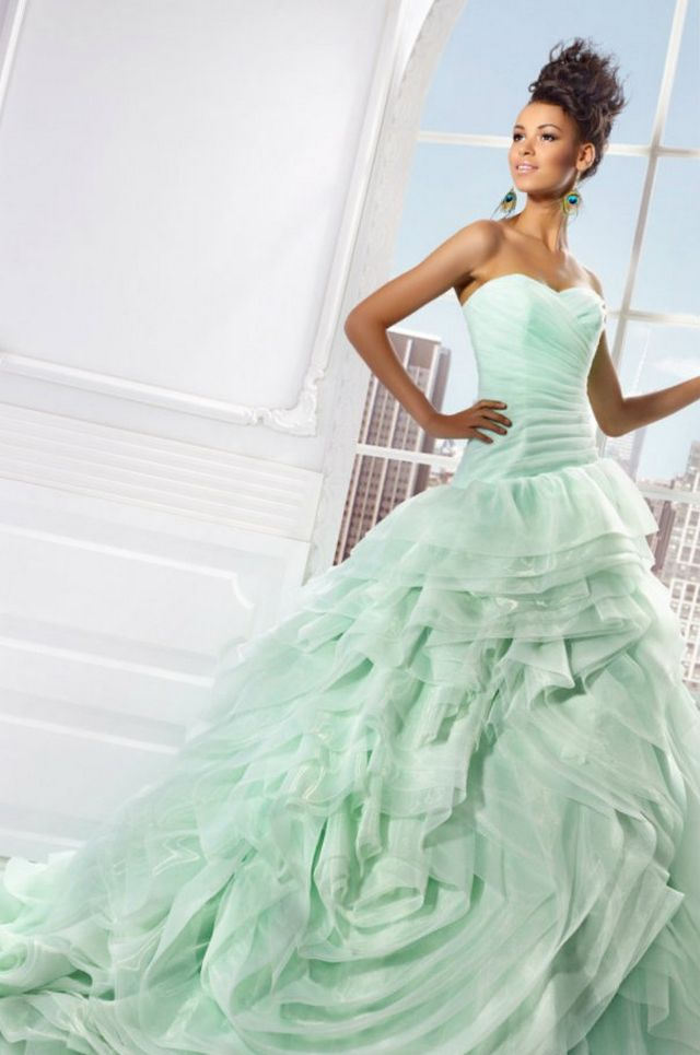 puffy green bridal gowns