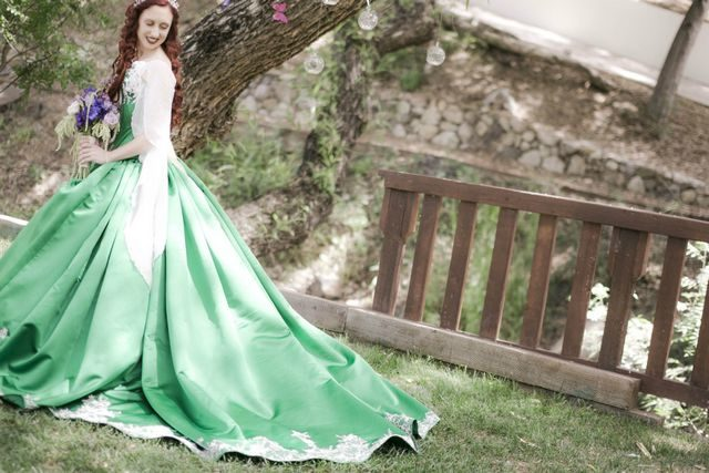 puffy green wedding dress