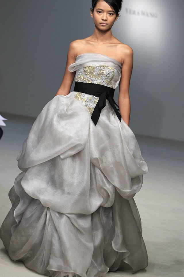 puffy grey bridal dress