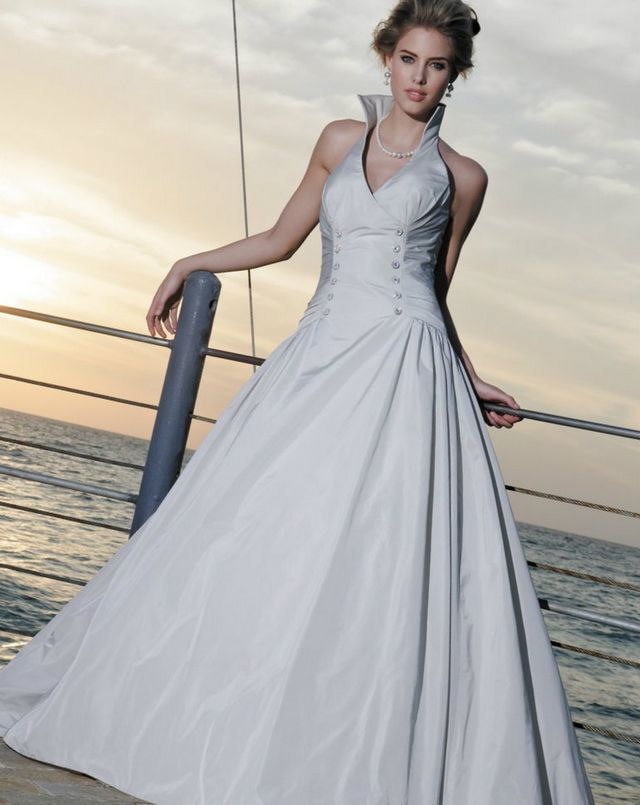 puffy grey wedding dress
