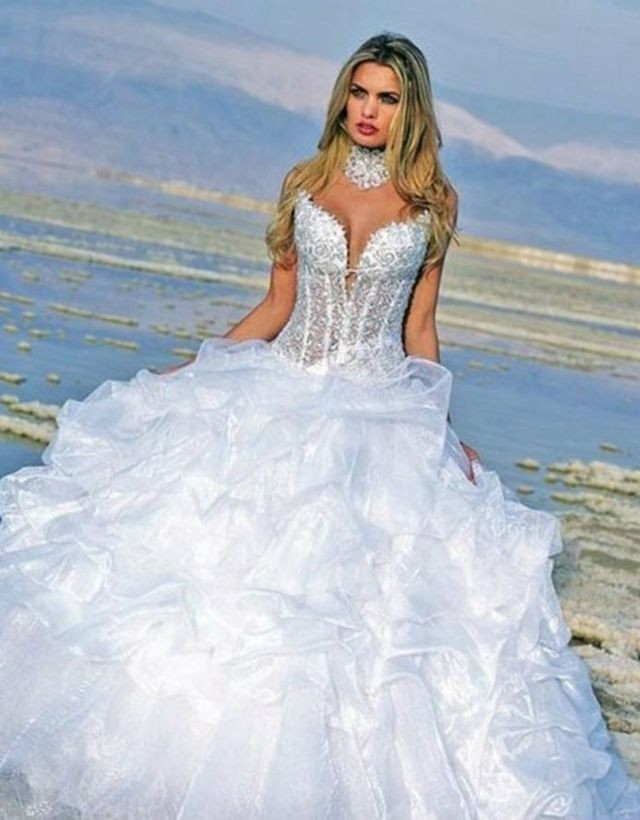 puffy lace wedding dresses