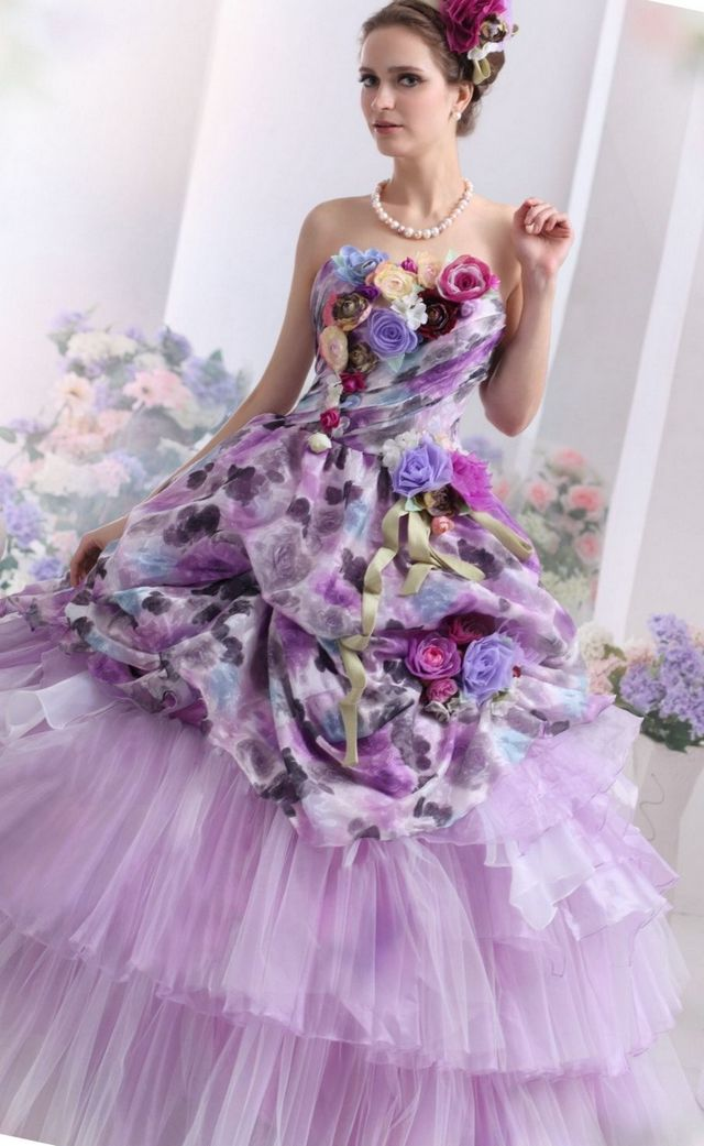 puffy lilac bridal dress