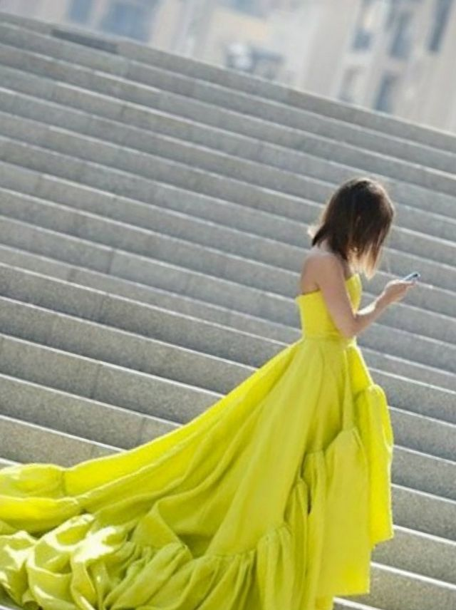 puffy neon bridal dress