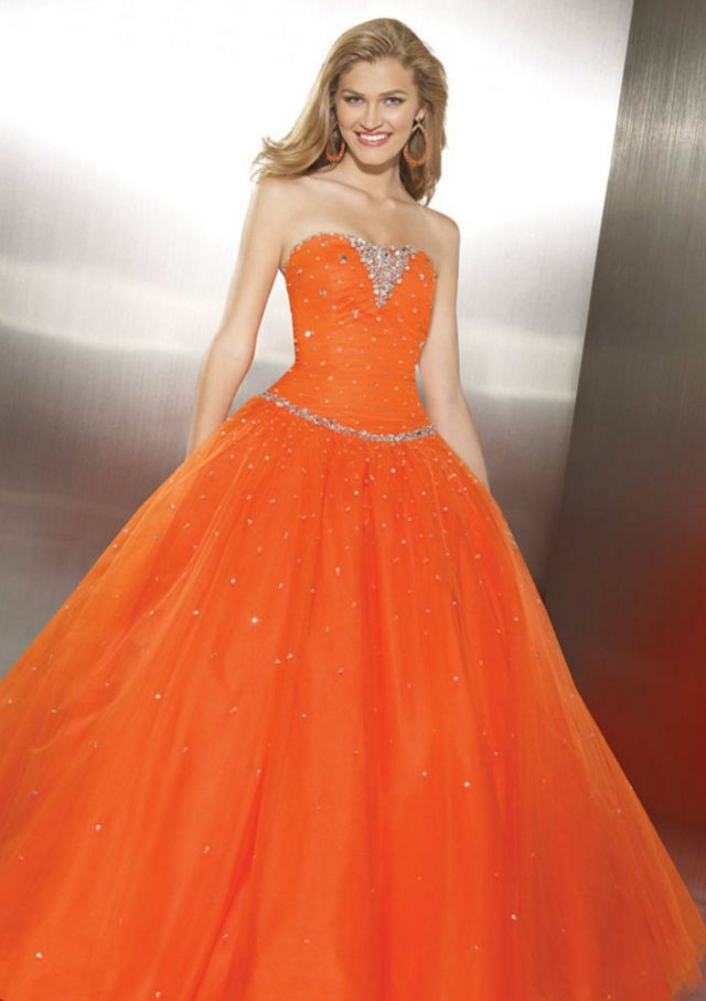 puffy orange bridal gowns