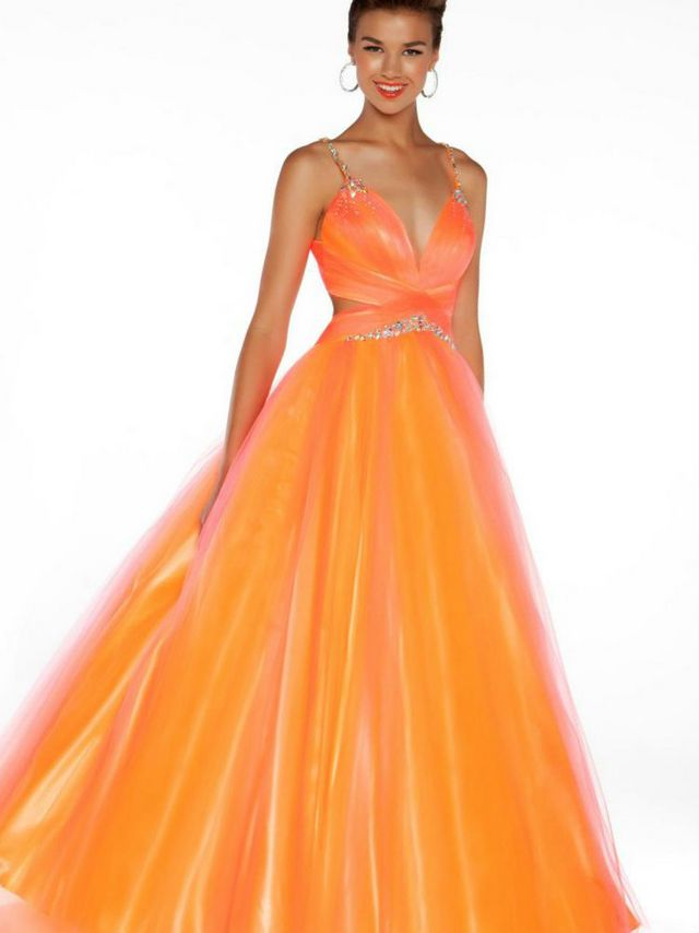 puffy orange wedding dresses