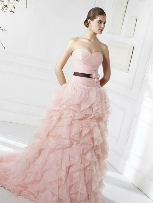 puffy pink bridal dress