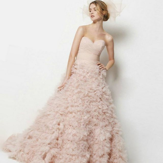 puffy pink wedding dress