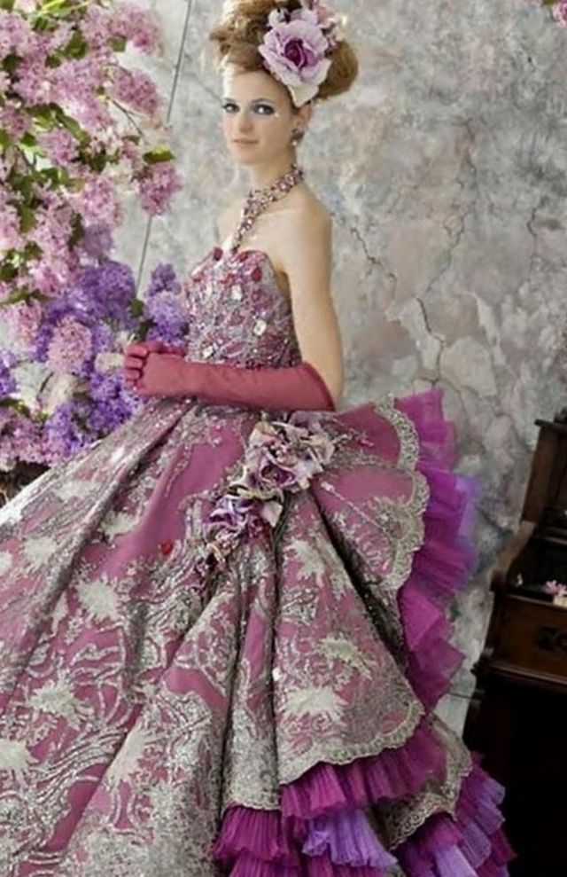 puffy purple wedding dress