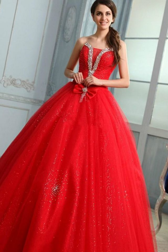 puffy red bridal dress photo
