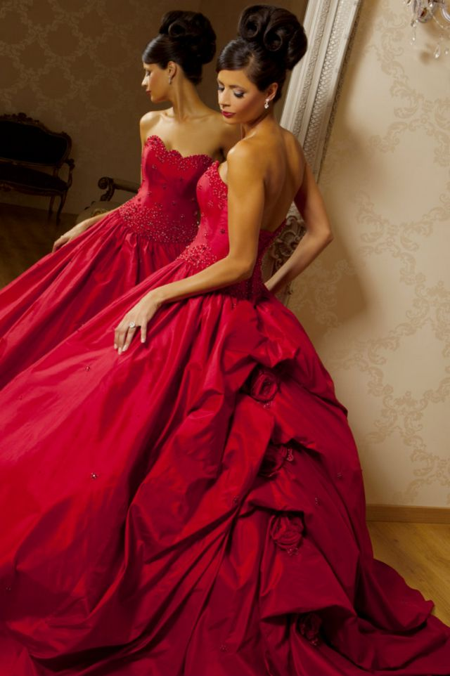 puffy red wedding dress