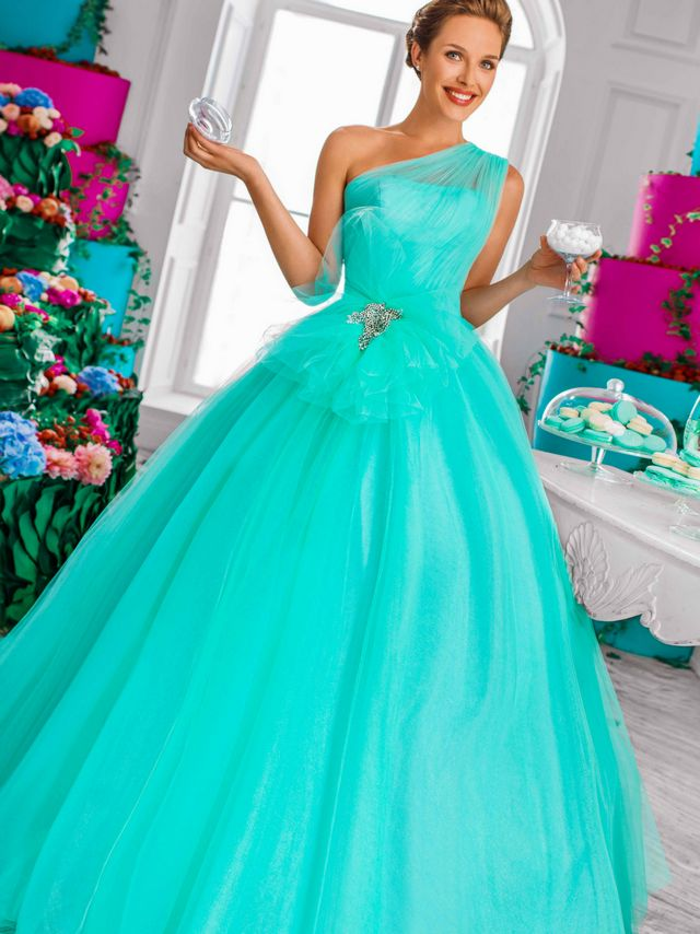 bfc2ec0a0e8 puffy turquoise bridal dress