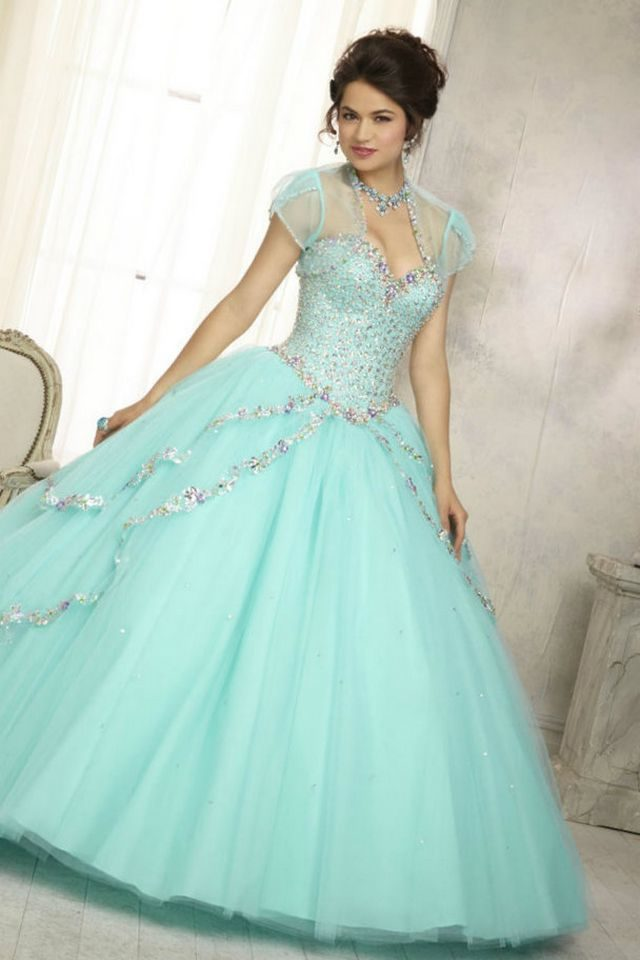 puffy turquoise wedding dress