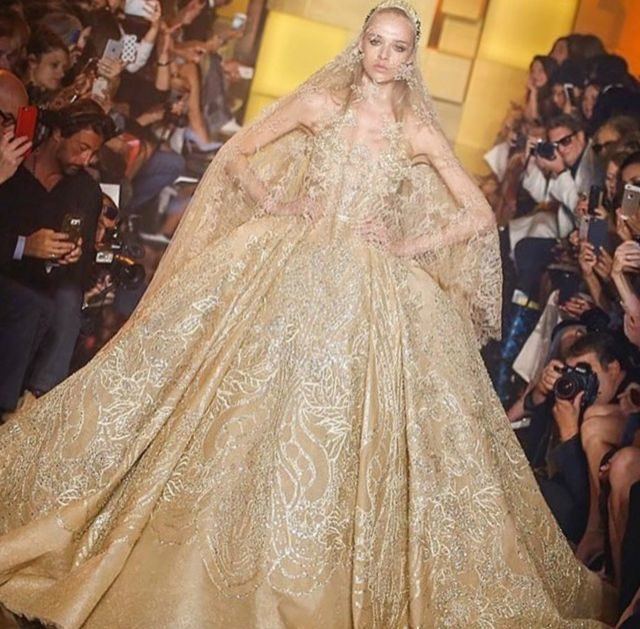 puffy wedding gown gold color