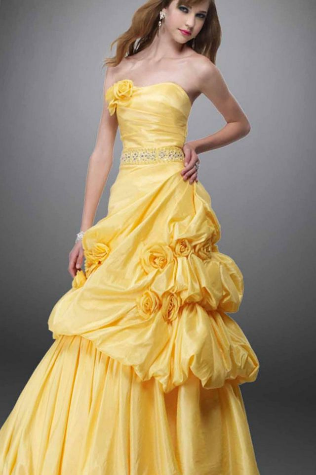 puffy yellow bridal gowns