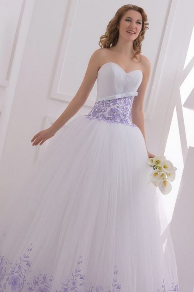 Purple And White Wedding Gown