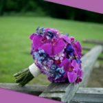 purple hydrangeas wedding bouquet