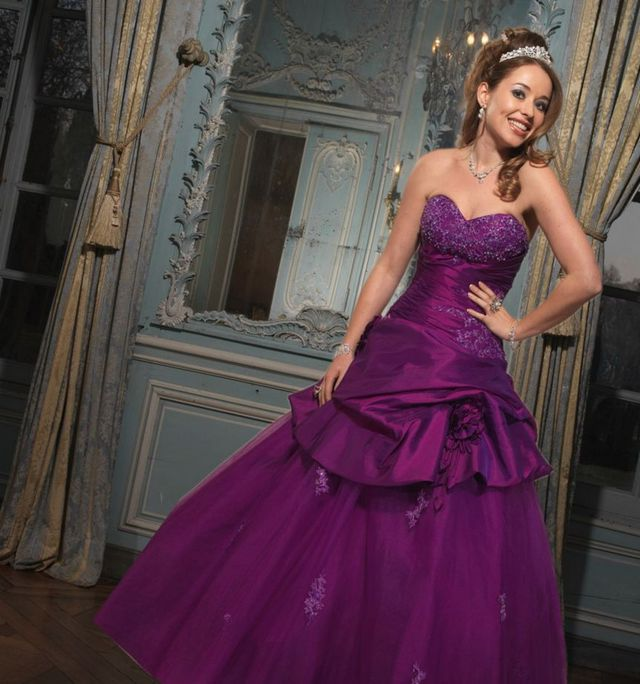 purple puffy bridal dress