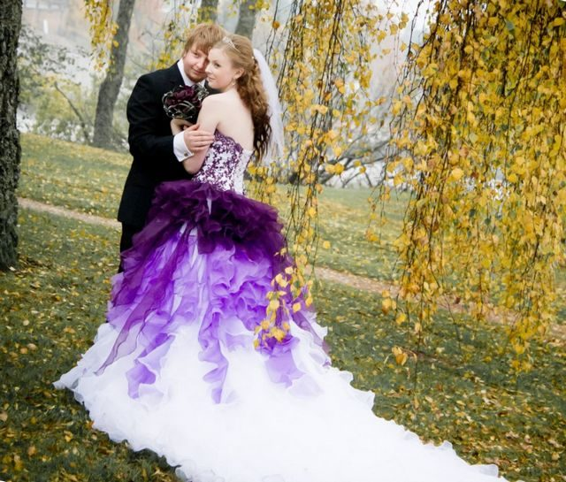 purple wedding dress with veil