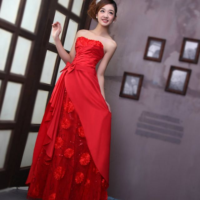 red bridal dresses picture