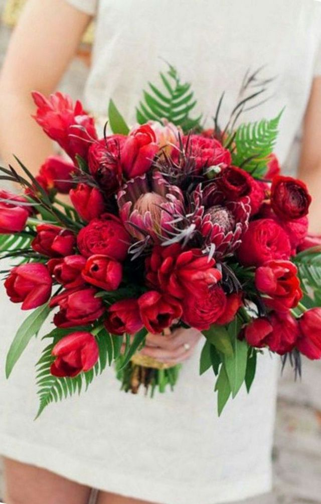 red tulips wedding bouquet