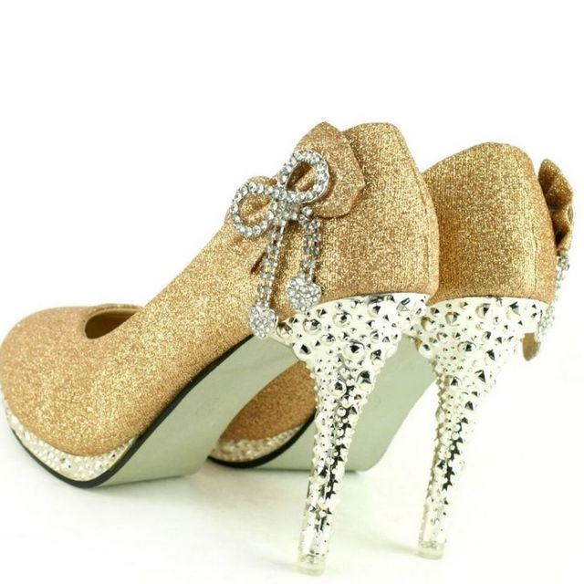 rhinestone high heel gold wedding shoes