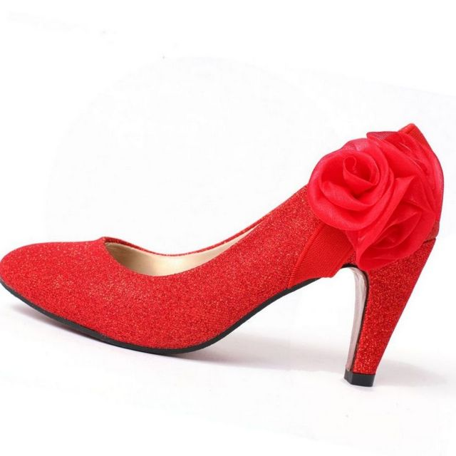 royal red high heels wedding shoes