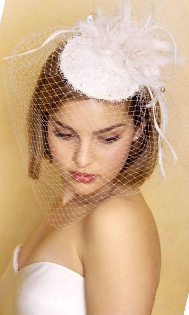 short birdcage bridal veils
