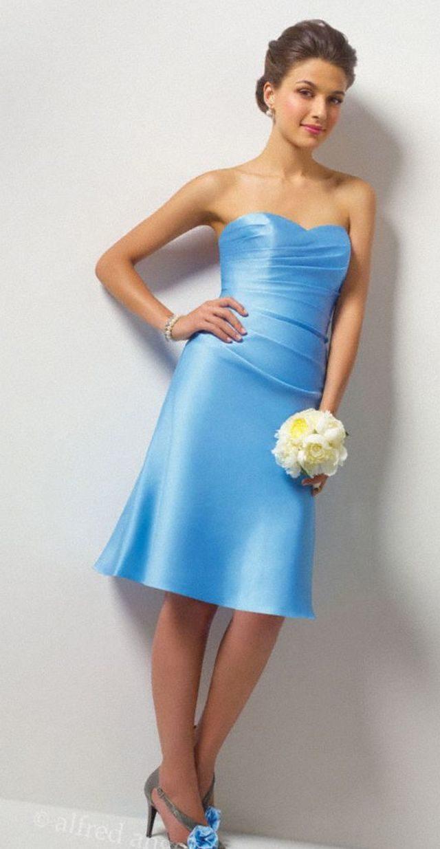 short blue wedding dress