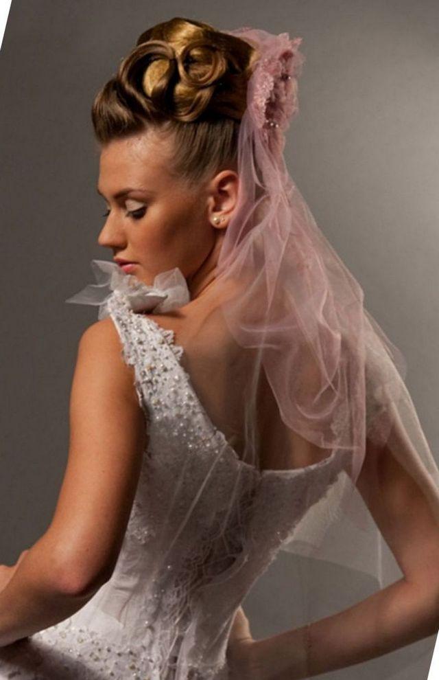short bridal veil ivory