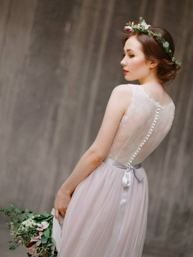 short grey wedding dress
