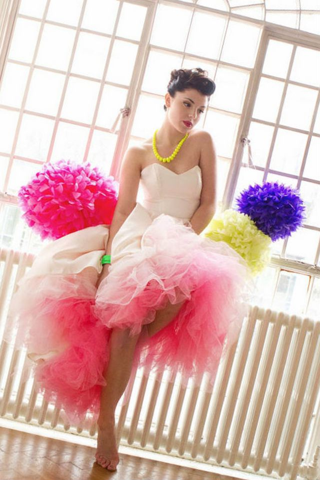 short neon wedding dress