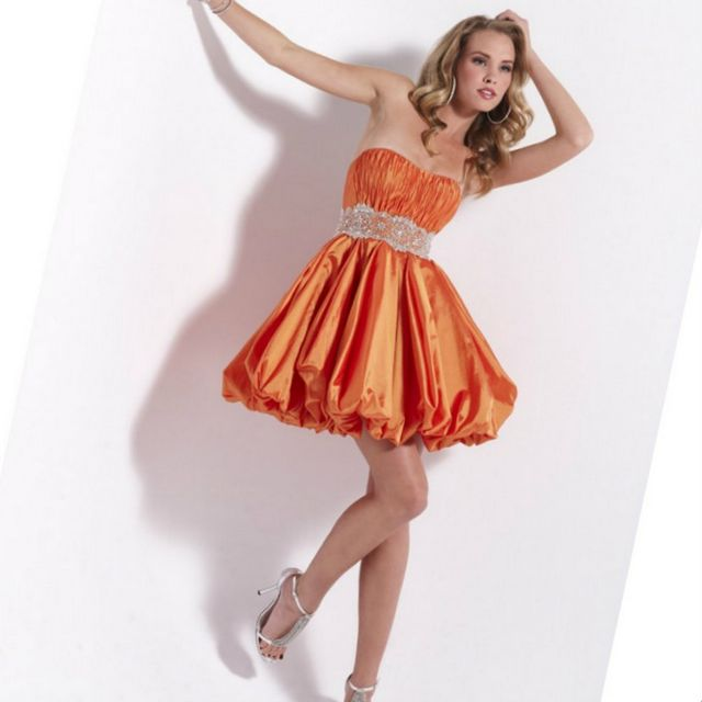 short orange bridal dresses
