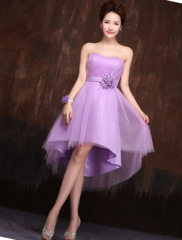 short purple wedding dress