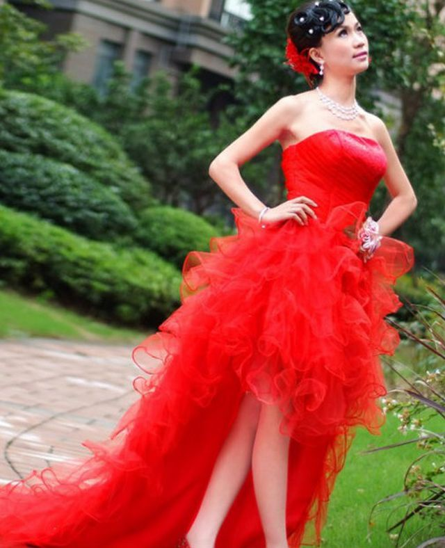 short red wedding dress picture