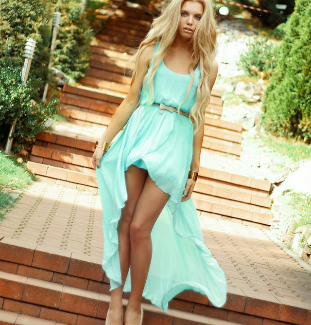 short turquoise wedding dress