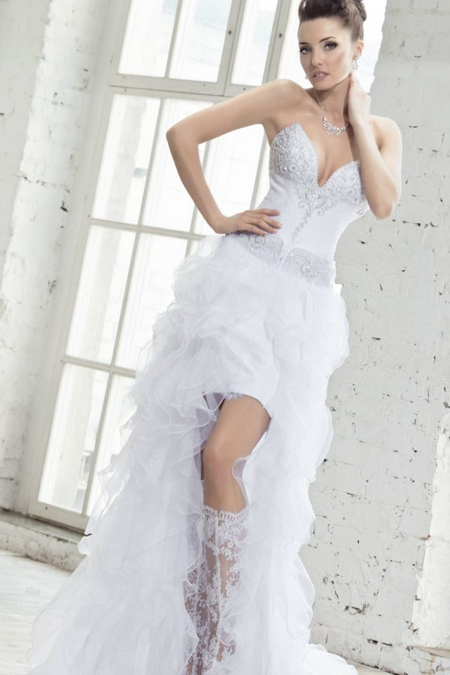 short wedding dress with long train dress yp