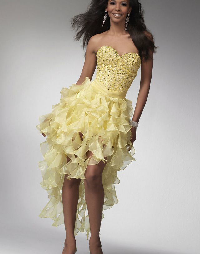 short yellow bridal dresses