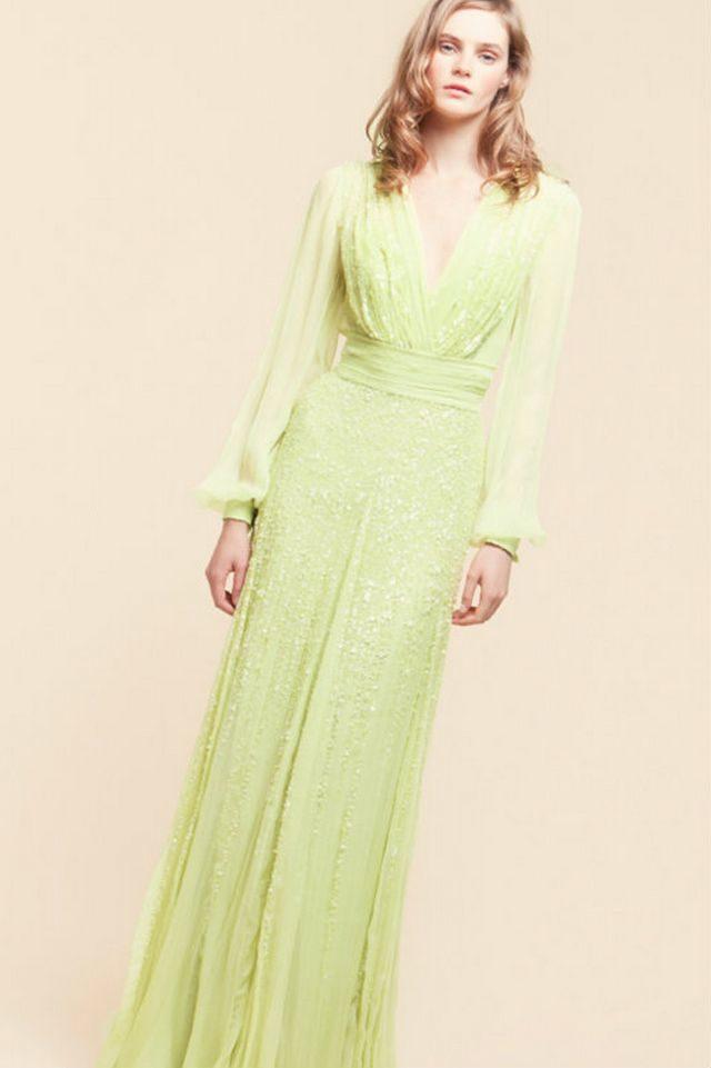 straight green wedding dresses