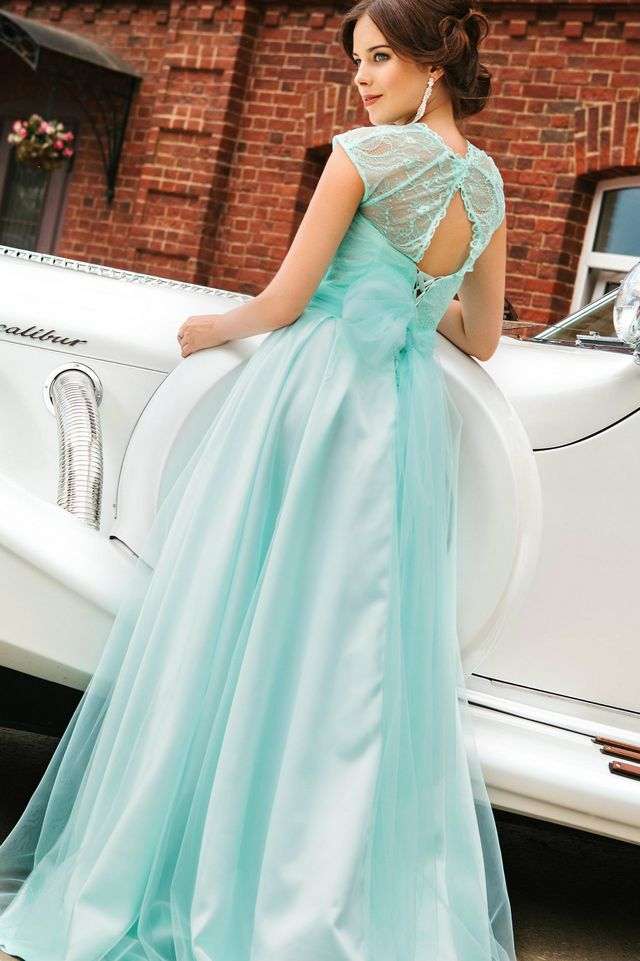 turquoise and white bridal dress