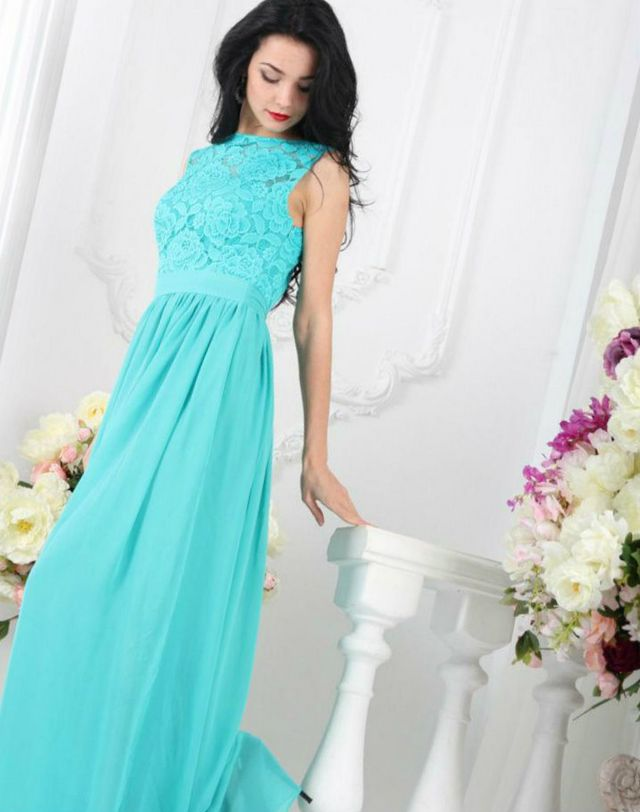 turquoise bridal dress image