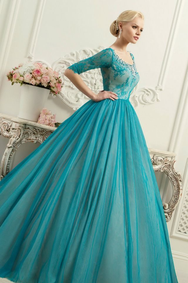 turquoise bridal gown picture