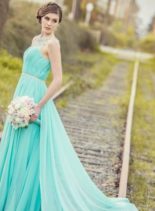 turquoise wedding dress with train